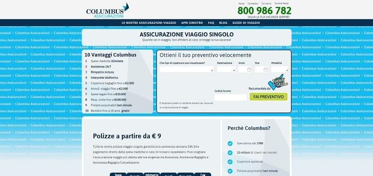 Columbus assicurazione di viaggio