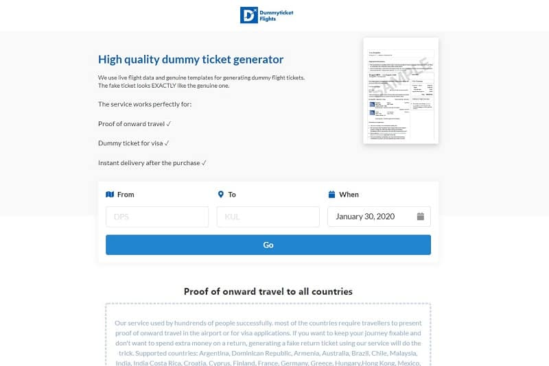 dummyticketsflight website